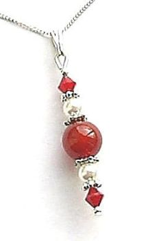 CARNELIAN & CORAL SWAROVSKI CRYSTAL SILVER GEMSTONE NECKLACE
