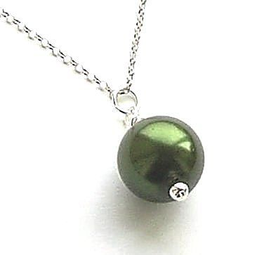 Emerald Pearl Sterling Silver Necklace