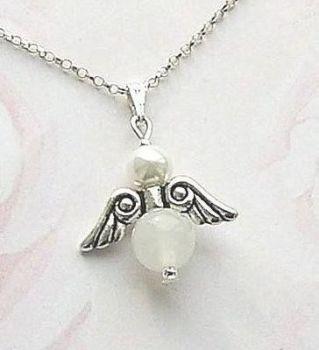 ANGEL GEMSTONE OF YOUR CHOICE SILVER NECKLACE