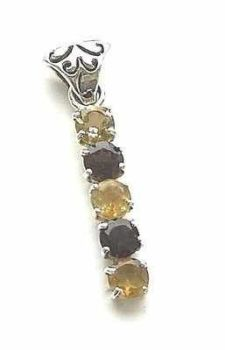 Citrine With Smoky Quartz Sterling Silver Pendant