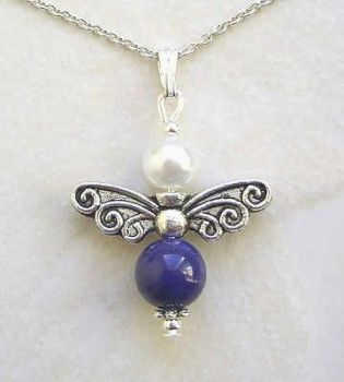 FAIRY~ LAPIS LAZULI FAIRY SILVER GEMSTONE NECKLACE