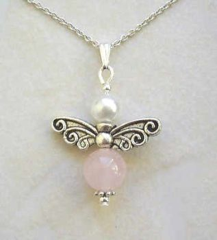 FAIRY~ ROSE QUARTZ FAIRY SILVER GEMSTONE NECKLACE