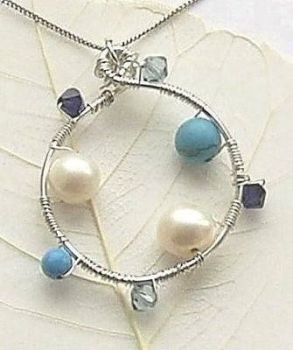 Freshwater Pearl And Turquoise Silver Gemstone Necklace