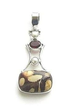 Garnet Agate And Pearl Gemstone Pendant