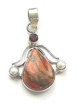 Garnet And Sea Sediment Amber Jasper Gemstone Pendant