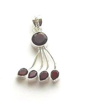 Garnet Faceted Multi Gem Silver Pendant