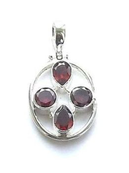 Garnet Multi Faceted Gem Sterling Silver Pendant
