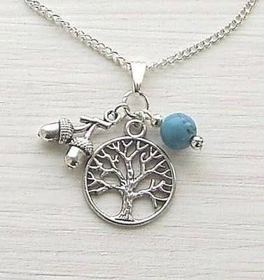 Turquoise Tree Of Life Charm Gemstone Necklace