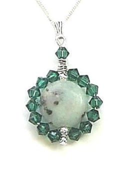 Emerald Crystal And Kiwi Jasper Sterling Silver Necklace