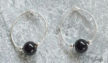 Black Onyx Hoop Sterling Silver Earrings
