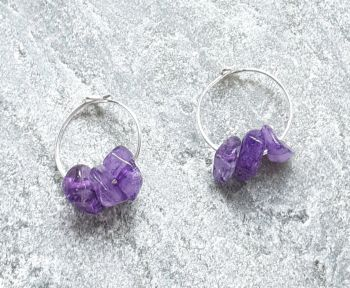 Amethyst Gemstone Hoop Sterling Silver Earrings