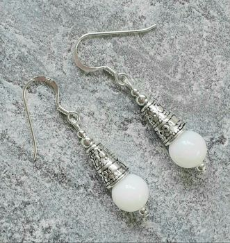 Bali White Jade Sterling Silver Gemstone Earrings