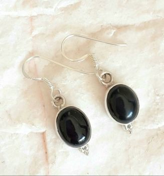 Black Onyx Cabochon Sterling Silver Earrings