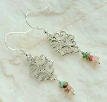 Attractive Watermelon Tourmaline Gemstone Earrings
