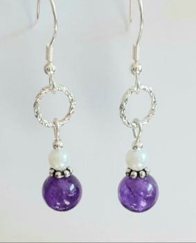 Amethyst Gem And Pearl Sterling Silver Earrings