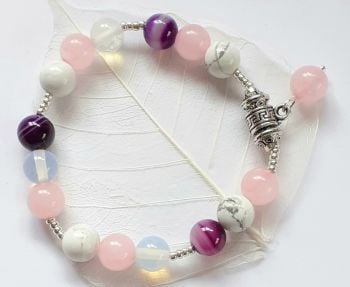 Rose Quartz Moonstone Quartz Gemstone Bracelet