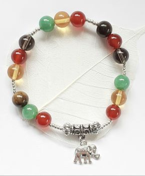 Carnelian Citrine Smoky Quartz Tigers Eye Gem Bracelet