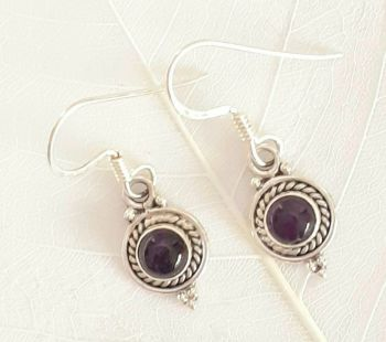 Amethyst Decorative Sterling Silver Gem Earrings