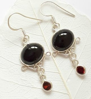 Black Onyx Cabochon Gemstone Silver Earrings