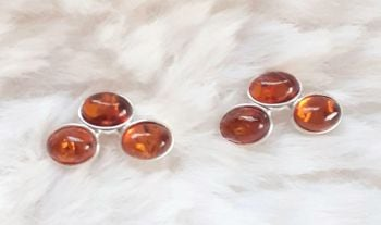 Baltic Amber Stud Sterling Silver Earrings
