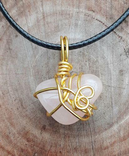Rose Quartz Gemstone Wire Wrapped Gold  Pendant