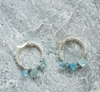 Aquamarine Hoop Sterling Silver Gemstone Earrings