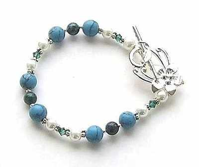 Azurite And Turquoise Gemstone Sterling Silver Bracelet