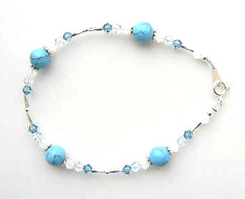 TURQUOISE GEMSTONE AND SWAROVSKI CRYSTAL SILVER BRACELET
