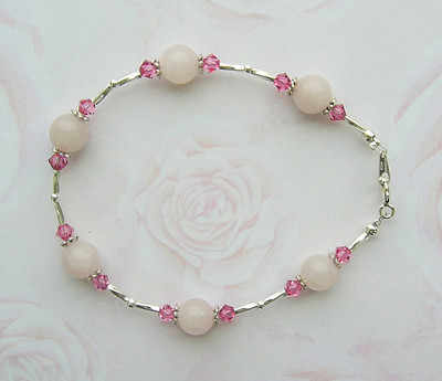 ROSE QUARTZ AND PINK SWAROVSKI CRYSTAL SILVER GEMSTONE BRACELET