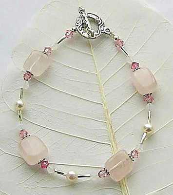 Rose Quartz And Freshwater Pearl Sterling Silver Bracelet