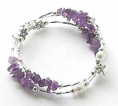 Dragonfly Pearl And Amethyst Pretty Silver Wrap Bracelet