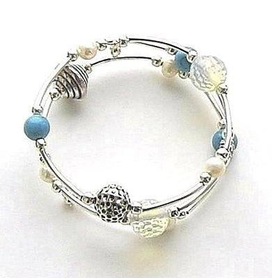 Freshwater Pearl Turquoise And Opalite Wrap Bracelet