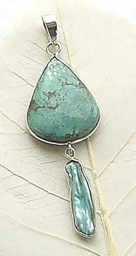 turquoise and biw pearl pendant