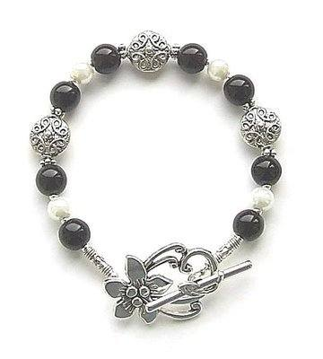 Black Onyx And Pearl Celtic Silver Gemstone Bracelet