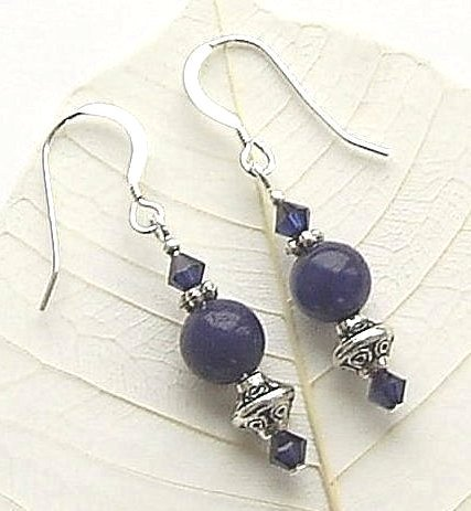 lapis iolite gemstone earrings
