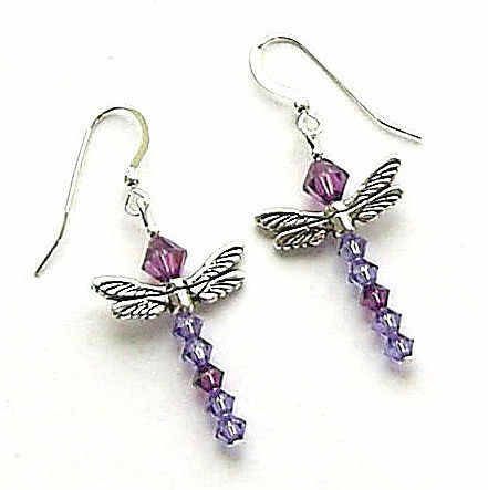 swarovski crystal earrings dragonfly amethyst