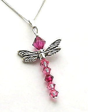 swarovski crystal necklace dragonfly pink