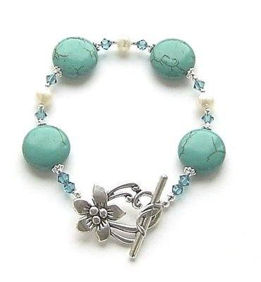 Turquoise Coin Gemstone And Pearl Silver Bracelet