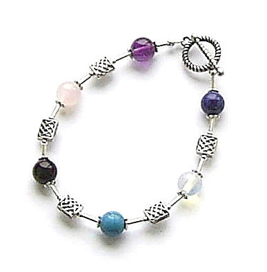 A Healing Multi Gemstone Celtic Sterling Silver Bracelet