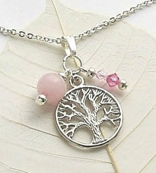 Rose Quartz Tree Of Life Silver Gemstone Necklace