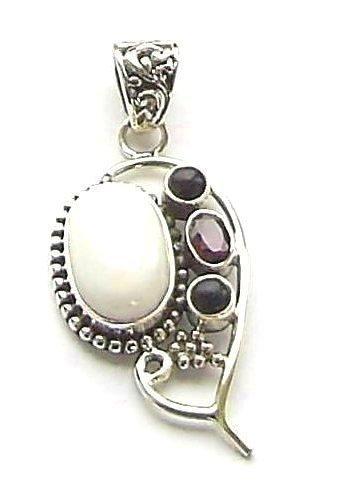 Garnet Multi Gemstone Jewellery Silver Pendant