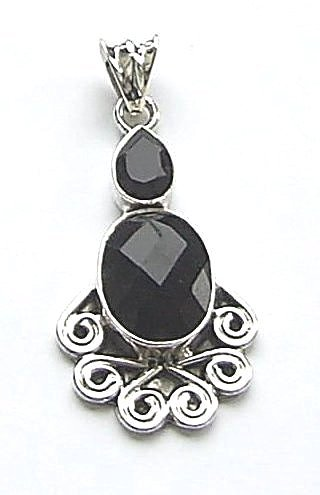 Black Onyx Multi Faceted Sterling Silver Gem Pendant