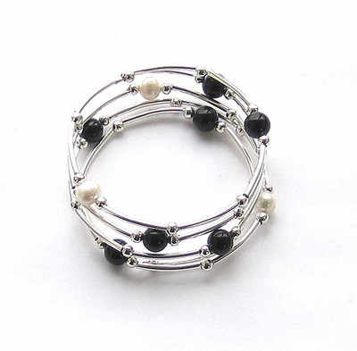 Black Onyx And Freshwater Pearl Silver Gemstone Wrap Bracelet