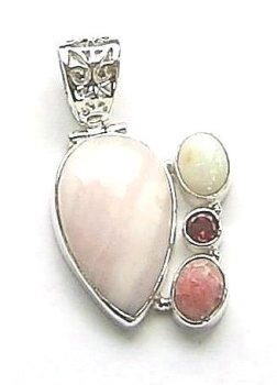 Pink Aragonite Opal And Rhodonite Gemstone Pendant