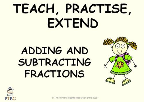 Adding and Subtracting Fractions Year 6 Powerpoint - Teach, Practise, Exten
