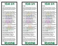 Year 3/4 Reading Bookmark - New National Curriculum