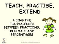 Equivalences between Fractions, Decimals and Percentages Powerpoint - Teach, Practise, Extend