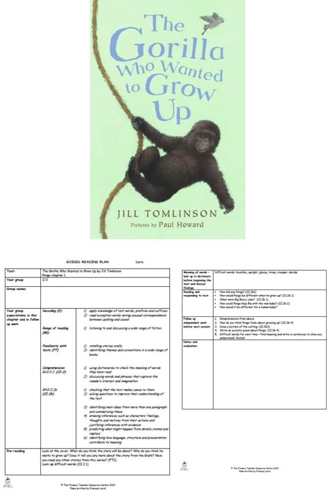 The Gorilla Who Wanted to Grow Up Guided Reading Plans