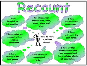 success criteria for writing a recount year 1