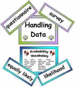 Maths Vocabulary - Handling Data Vocabulary Cards (Old Curriculum)
